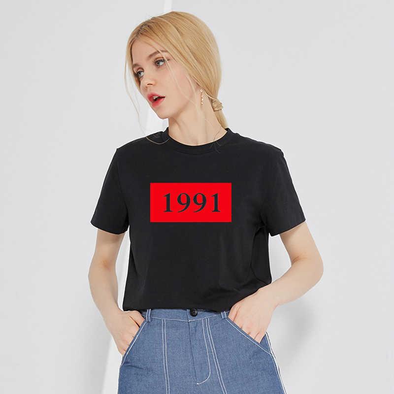 ส่วนบุคคลปี 1991 พิมพ์ผ้าฝ้าย t เสื้อผู้หญิง Tees กราฟิก Hipster Tumblr tops สตรีเสื้อผ้าเสื้อผ้า drop ship