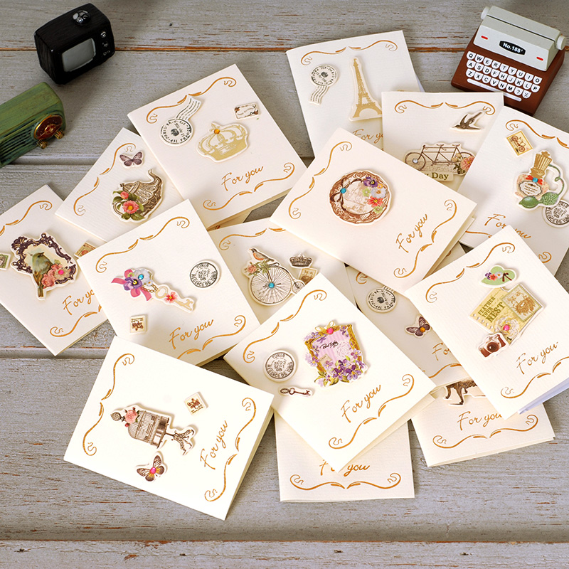 Free Shipping 15PCS Mini Creative Blessings Birthday Message Small Card Festive Gifts Thanks Greeting Card FOR YOU Boxed