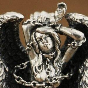 Image 5 - LINSION Высокая деталь 925 пробы серебряный кулон Андромеда сексуальный ангел Байкерский кулон TA82
