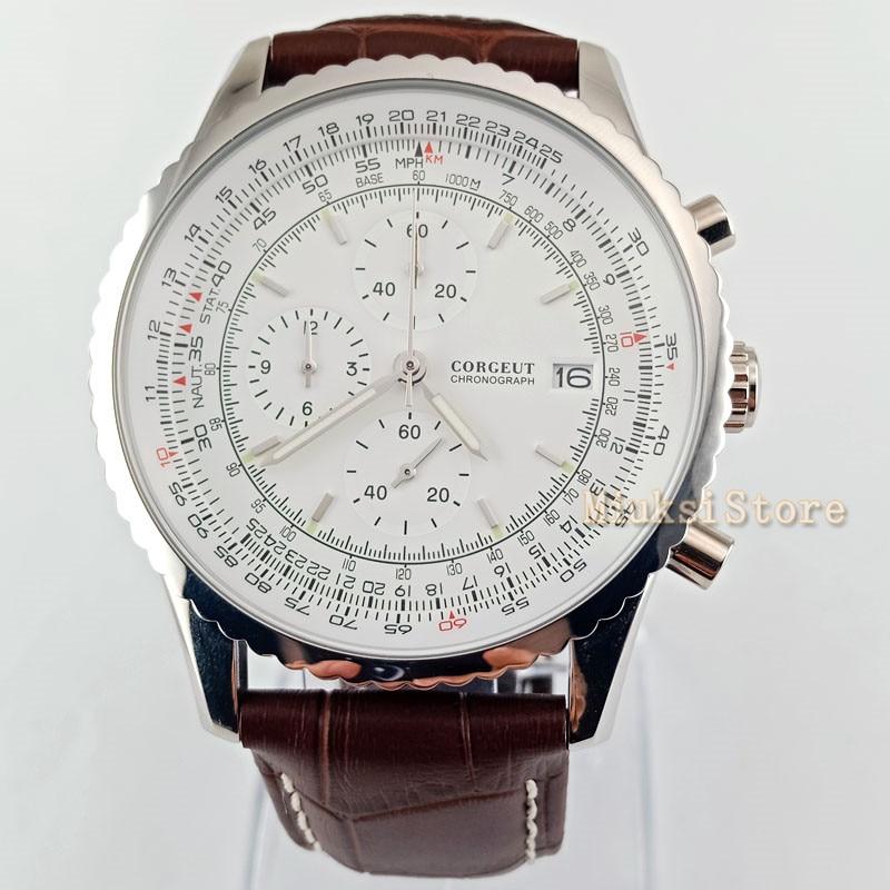 46.5mm niebieski czarny biały ruch: kwarcowy Masculino zegarki luksusowe Top mężczyźni moda Casual Dress zegarek na rękę zegarek w Zegarki mechaniczne od Zegarki na  Grupa 3