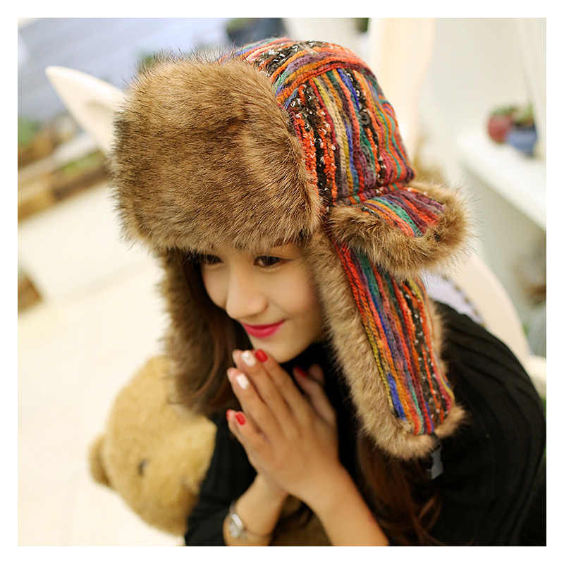 0ef8cefeb4f Fashion Colorful Winter Hat For Women Girls Bomber Hat Earflap Cap Cold  Winter Thickening Warm Faux