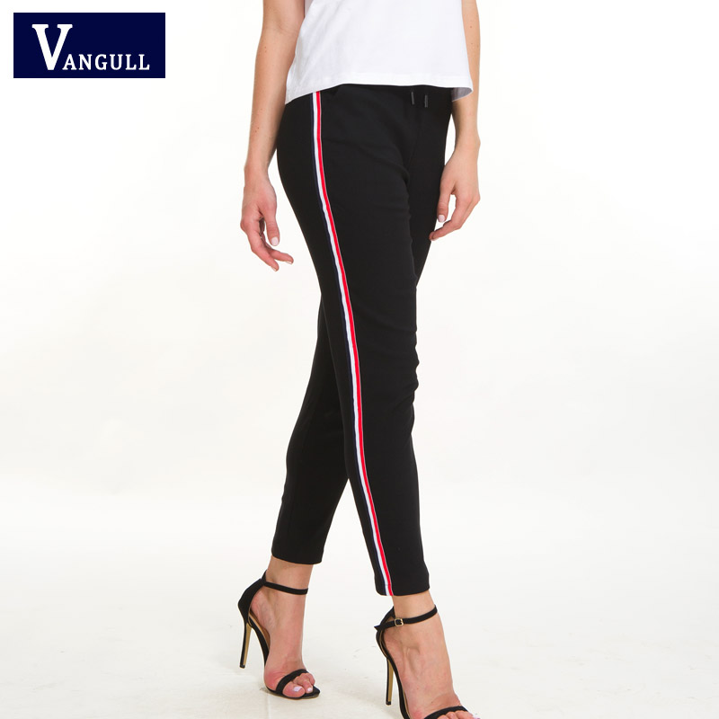 Vangull Striped Skinny High Waist Pants New Women Autumn New Drawstring Pockets Cotton Pencil Pants Black Casual Women Trousers