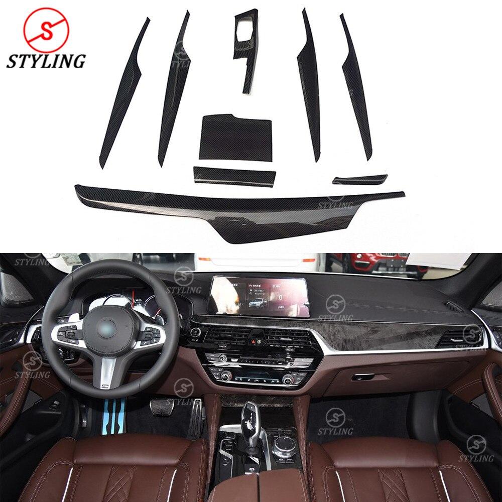 For BMW 5 Series G30 G38 Carbon Fiber Interior Trim Cover LHD Only Gloss Black& Matt Black Finish 9 Pieces/Set Car styling 2017+