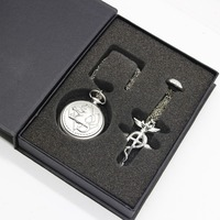 Vintage Full Metal Alchemist Edward Elric Cosplay Pocket Watch Dull Polish Men S Quartz Pocket With