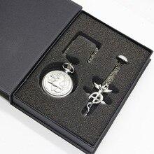 Montre de poche Vintage en métal complet alchimiste Edward Elric Cosplay poche à Quartz pour hommes avec boîte TPB035