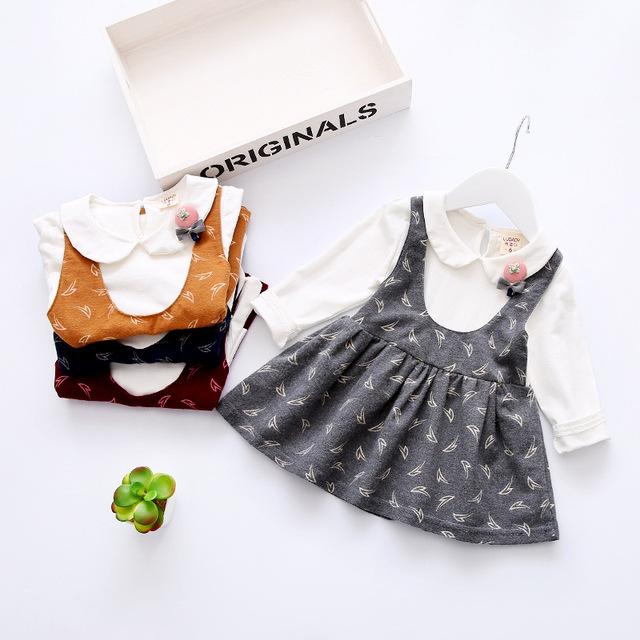 Otoño Invierno Vestidos de Flores Para Las Niñas pequeñas Ropa de Algodón Set 2 Unids Niña Vestido de Fiesta de Los Niños Ropa de Navidad vestido