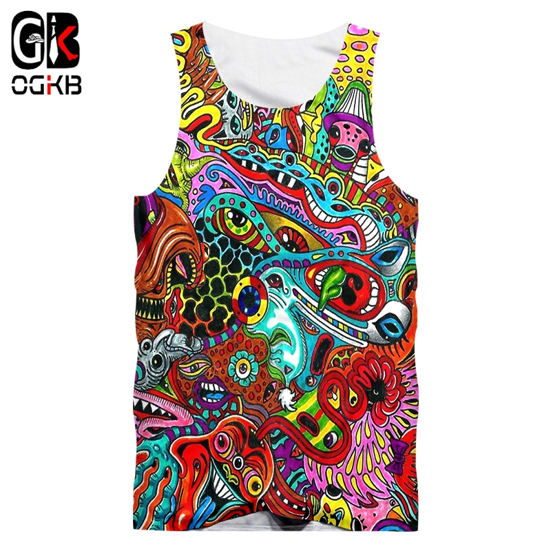 OGKB Men Vest Hot Bodybuilding 3D Printed Geometric Colorful Striped 5XL   Tops   Tees Homme Summer   Tank     Tops   Wholesale