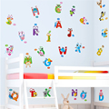 Cartoon ABC Alphabets Wall Stickers Creative Decorative Decals Waterproof DIY Animal Wall Poster for Kids Room Decoration
