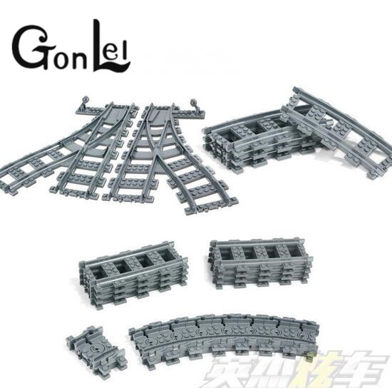 GonLeI Building Blocks Toys for Children Rail Tracks for Train Straight & Curved & furcal & soft Tracks compatible lepin train singdio train track big building blocks carriage cross straight curved furcal rail kids educational toys compatible with duplo