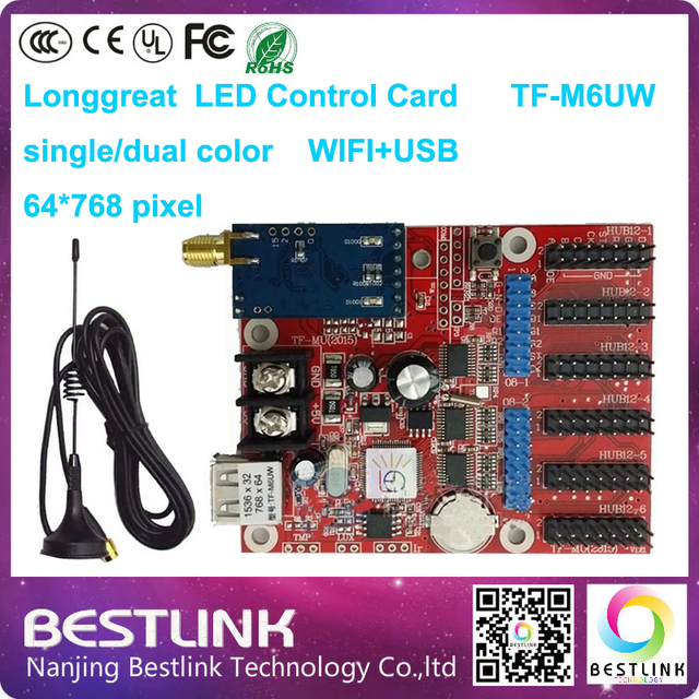P10 LED board with wifi led control card longgreat tf-m6uw single color 64*768 pixel led controller card electronic advertising