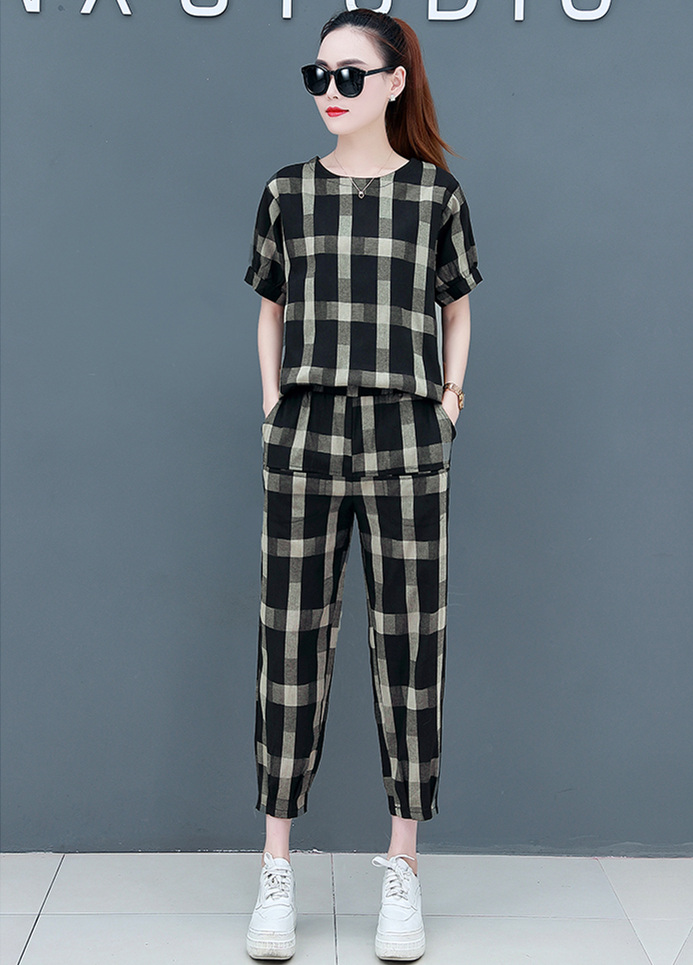 2019 Summer Cotton Linen Plaid Two Piece Sets Outfits Women Plus Size Short Sleeve Tops And Pants Casual Matching Sets Suits 35