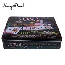 MagiDeal Новые поступления Professional 5 в 1 казино фишки для покера карты забаввечерние ная вечеринка игры клуб паб поставки подарок
