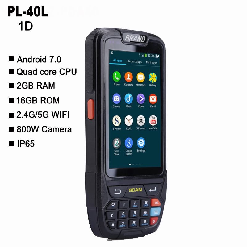 PL-40L tela grande 1d scanner de código de barras do bluetooth android pda terminal de dados do scanner