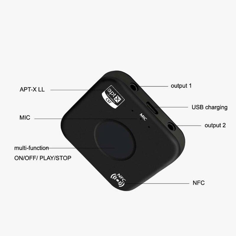 OOTDTY CSRA64215 Wireless Audio Receiver Adapter B7 PLUS Bluetooth 4,2 Empfänger APT-X NFC CVC6.0 Eingebaute Mikrofon AUX Out