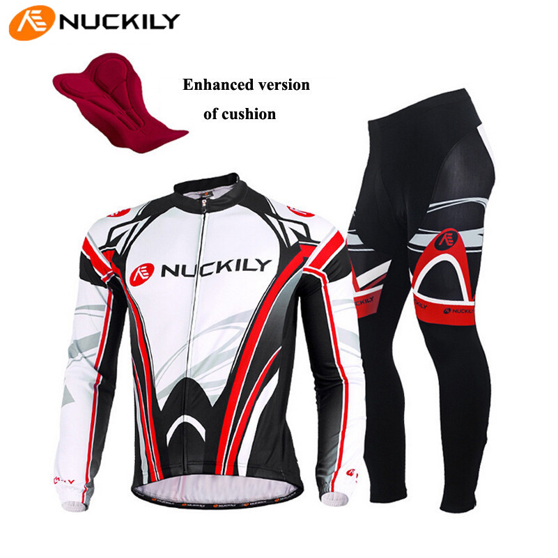 цена на NUCKILY Long Sleeve Cycling Jersey Breathable Jersey 3D Gel Pad Pants Bike Roupa Ciclismo MTB Bike Bicycle Cycling Clothes