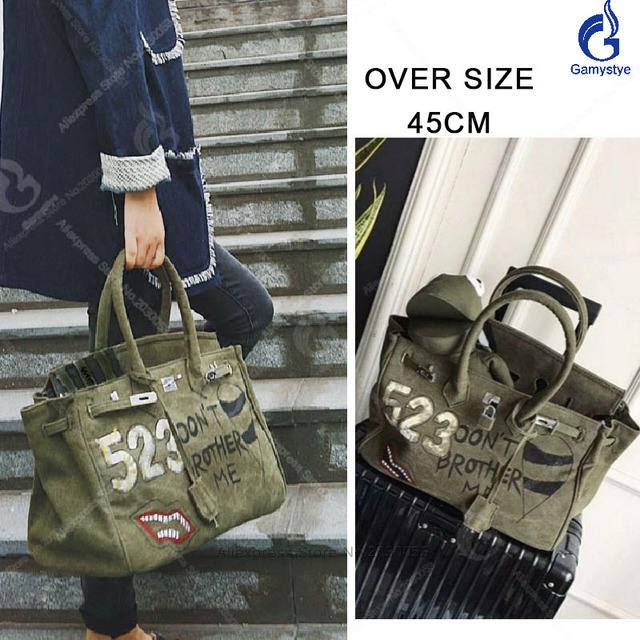 80967bc0014d 2018 Women Canvas Totes Oversize 45cm Large Bag Design Luxury Bolsa  Feminina Designer Handbag School Shoulder