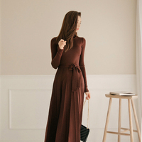 Fashion women temperament casual knit soft a line dress new arrival vintage solid comfortable elegant classical thick warm dress