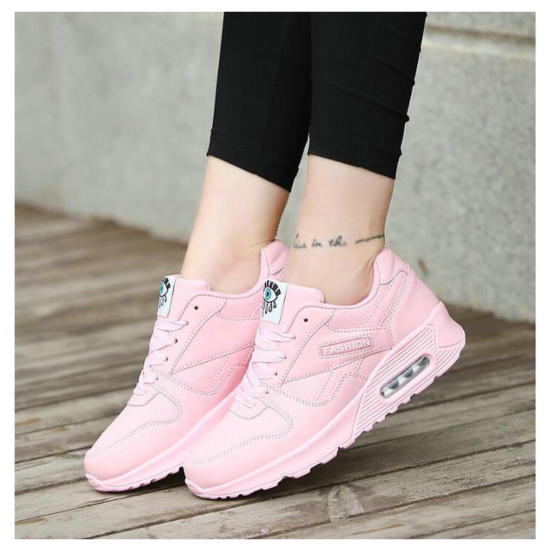 Female Sneakers Walking-Shoes Pink Fashion Woman Breathable Ladies Mesh Outdoor Lace-Up