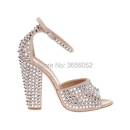 Shooegle Luxury Shoes Women Designers New Summer Peep Toe Rhinestone Party Wedding Pumps Ankle Strap Chunky Heel Crystal Sandals