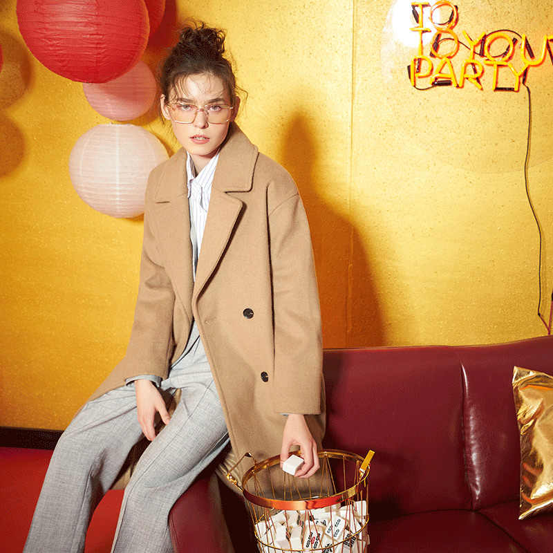 Toyouth Woolen Coats 2019 Winter New Arrival Loose Long Straight Solid Double Breasted  Lapel Collar Long Sleeves Woolen Coat