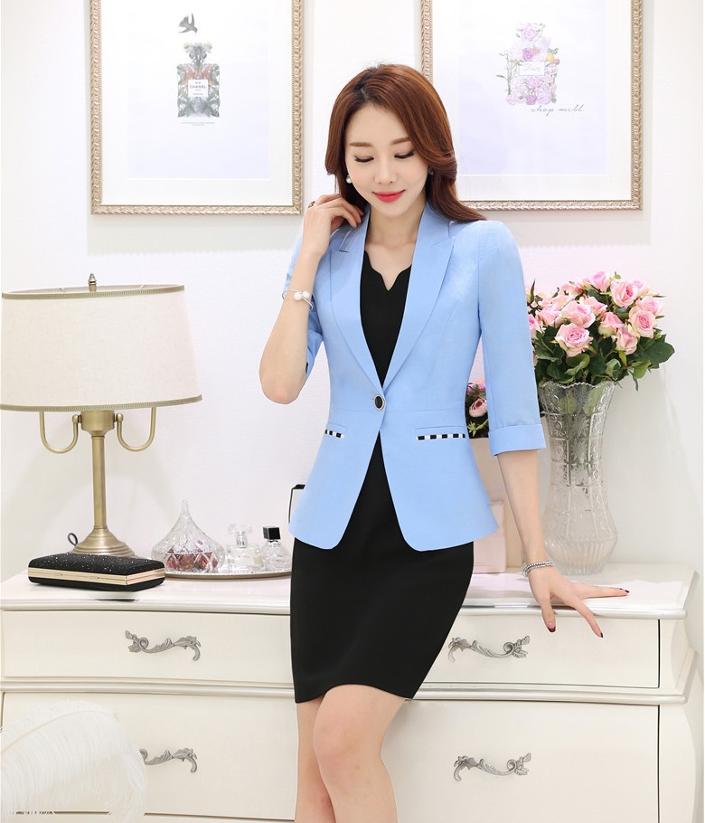 Spring Formal Dress Suits for Women Business Suits Light Blue ...