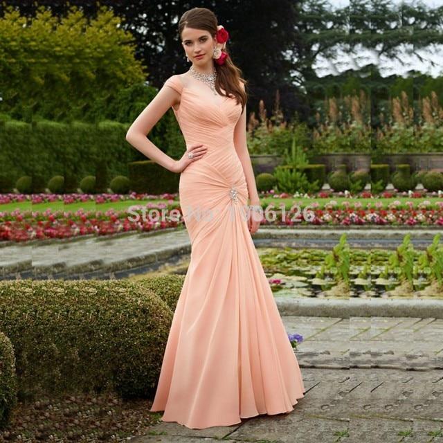 27b7af2edbc New Modest Long Mermaid Coral Colored Bridesmaid Dresses 2017 Pleated  Wedding Guest Dress Formal Party Vestido longo de festa