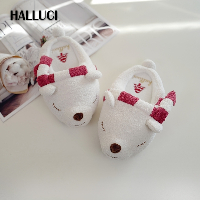 halluci christmas polar bear lovely home slippers women shoes cotton keep warm pantufa indoor soft sole
