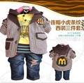Anlencool Children's Clothing Male Child Spring And Autumn Cartoon Sweatshirt Jeans Blazer Baby Three Pieces Set free Shipping