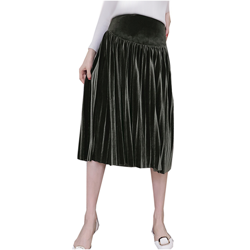 Autumn Winter Style Pregnant Women Skirt High Waist Velour Pleated Skirt Female Maternity Elegant Party Skirts Pregnancy Fashion