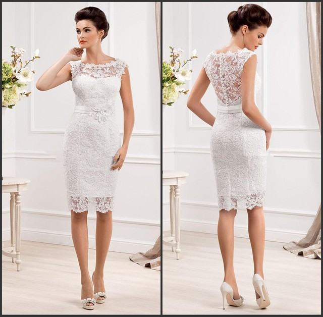 Vestido de renda curto branco noiva