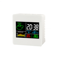 Wholesale prices TS-S61 Color screen clock indoor Temperature and hygrometer clock with calendar / alarm function 12/24 hours desktop clock