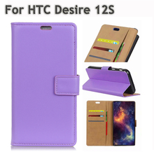 цены Purple Pure color Case For HTC Desire 12S Full Cover Fashion Stylish Leather Bag Wallet Flip Card Holder Slim Phone Shell