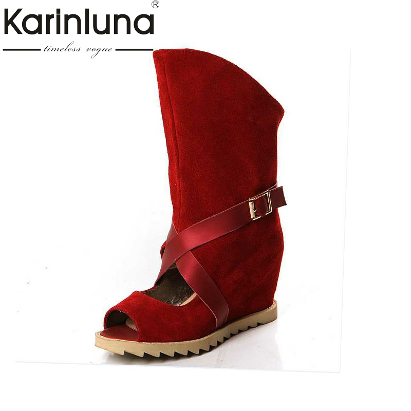 KARINLUNA Women Summer Boots Hidden Wedge High Heel Open Toe Platform Shoes 2017 New Woman mid-calf Leisue Boots new arrival superstar genuine leather chelsea boots women round toe solid thick heel runway model nude zipper mid calf boots l63