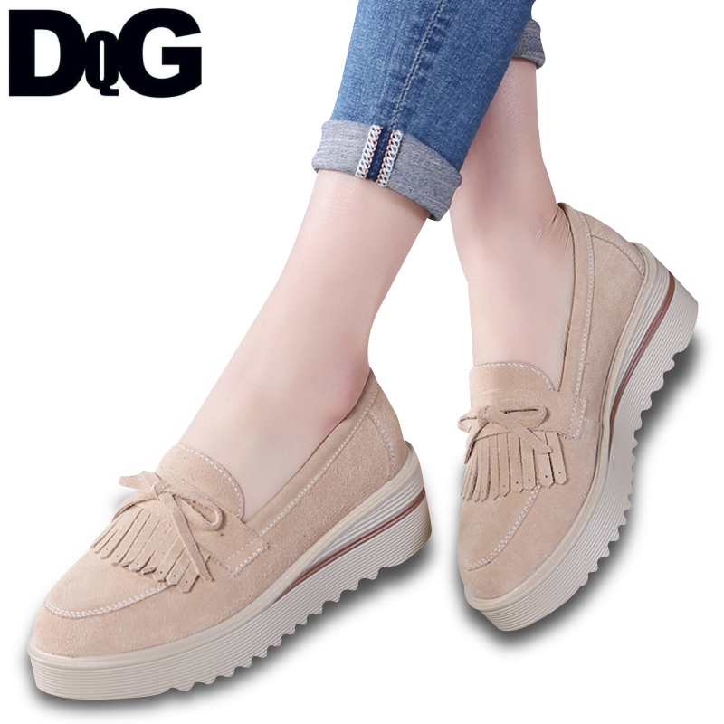 DQG 2018 Smmuer Casual Women Shoes Flat Platform Solid Slip On Zapatos Mujer Fashion Fringe Flats Leather Chaussures Femme