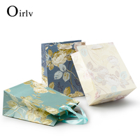 Oirlv Free Shipping Elegant Custom Printed Handle Shipping Bags For Counter Jewelry Gift Packing Foldable Paper