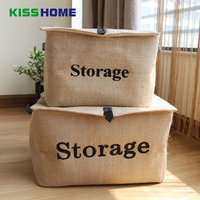 High Quality Linen Cloth Table Storage Box Clothes Magazine Foldable Cosmetic Storage Boxes Towels Dolls Basket with Handle