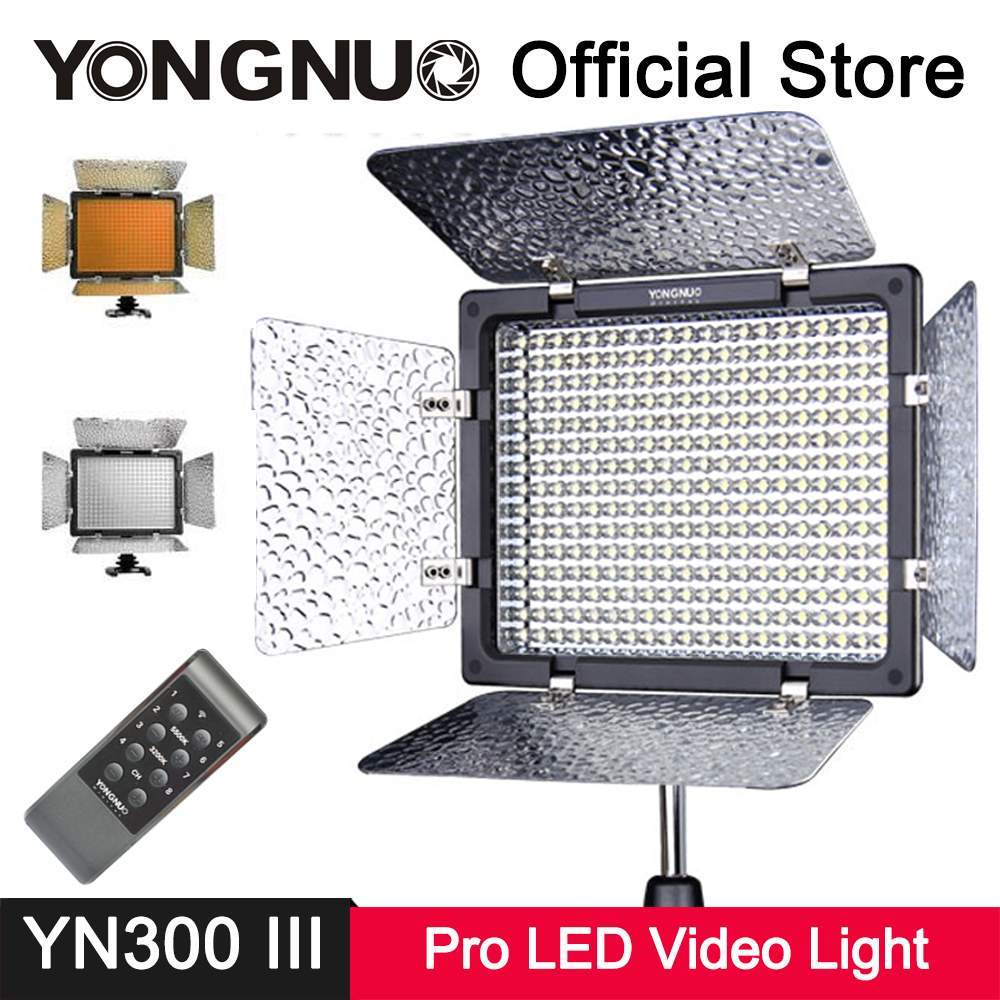 YongNuo YN300 III LED Video Light 3200k-5500K Wireless Remote Lamp for Canon Nikon DSLR Camera Photo Studio Photography Lighting 2018 yongnuo yn320 photo studio led panel video light with stand holder high brightness video light for canon nikon dslr camera