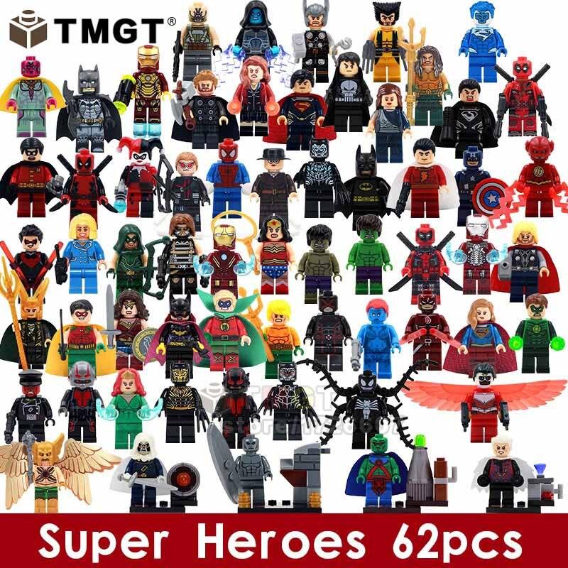 TMGT 62pcs lot Super Heroes Harly Quinn Deadpool Hulk Flash Loki Bricks Building Blocks Toys For