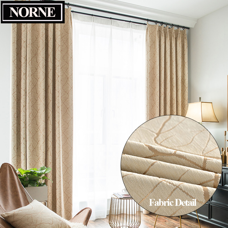 NORNE Chenille Branch Jacquard Heavy Thick Thermal Insulated Window Curtains Blinds Panel For Bedroom Living Room Kitchen Drapes