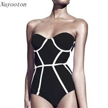 2017 New Black white stripes Women Swimwear One Piece Swimsuit Sexy Halter Holiday leisure Slim Bathing Suit Free shipping D017