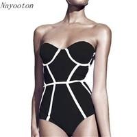 2016 New Black White Stripes Women Swimwear One Piece Swimsuit Sexy Halter Slim Bathing Suit Free