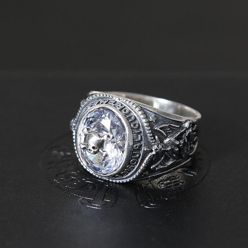 F Thai argent restauration anciennes manières araignées blanc zircon personnalité mâle han édition anneau