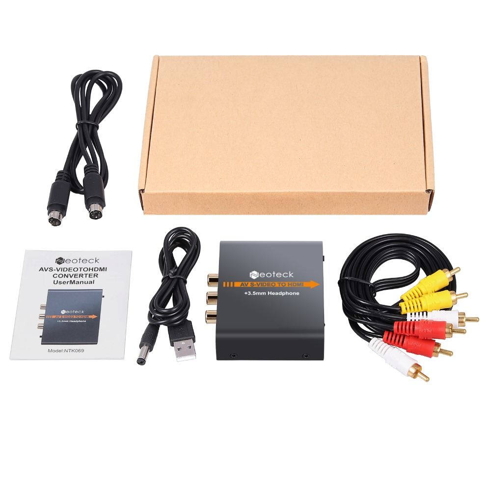 Neoteck Alloy 3RCA AV CVBS Composite S-Video to HDMI Converter AV S-Video to HDMI Adapter  with 3.5mm Jack Audio for NES SNES