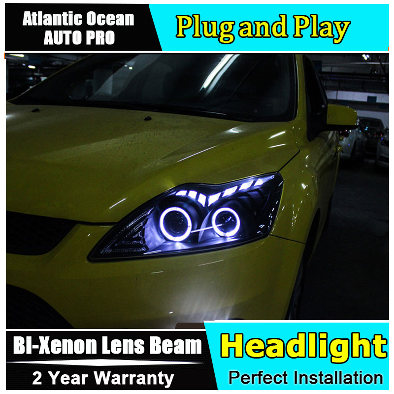 Car Styling for 2009 2011 Ford Focus2 LED Headlight Focus Headlights DRL Lens Double Beam HID KIT Xenon bi xenon lens