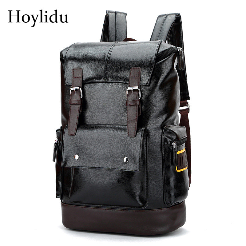High Quality PU Leather Shoulder Bags Fashion Solid Travel Large Capacity Waterproof Des ...