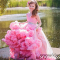 Beautiful long pink tulle flower girl dresses lovely pageant glitz ball gowns with beading crystals sash toddler party frocks