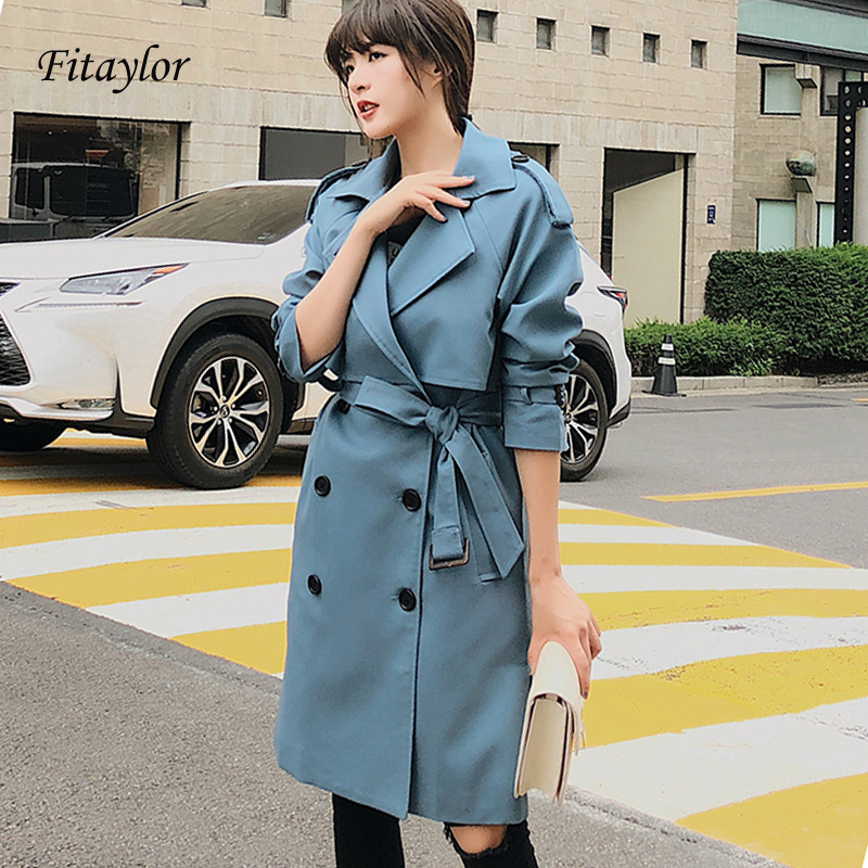 Fitaylor New 2020 Double Breasted Mid-long Trench Coat Women Casual Slim Belt Cloak Vintage Windbreaker Outwear