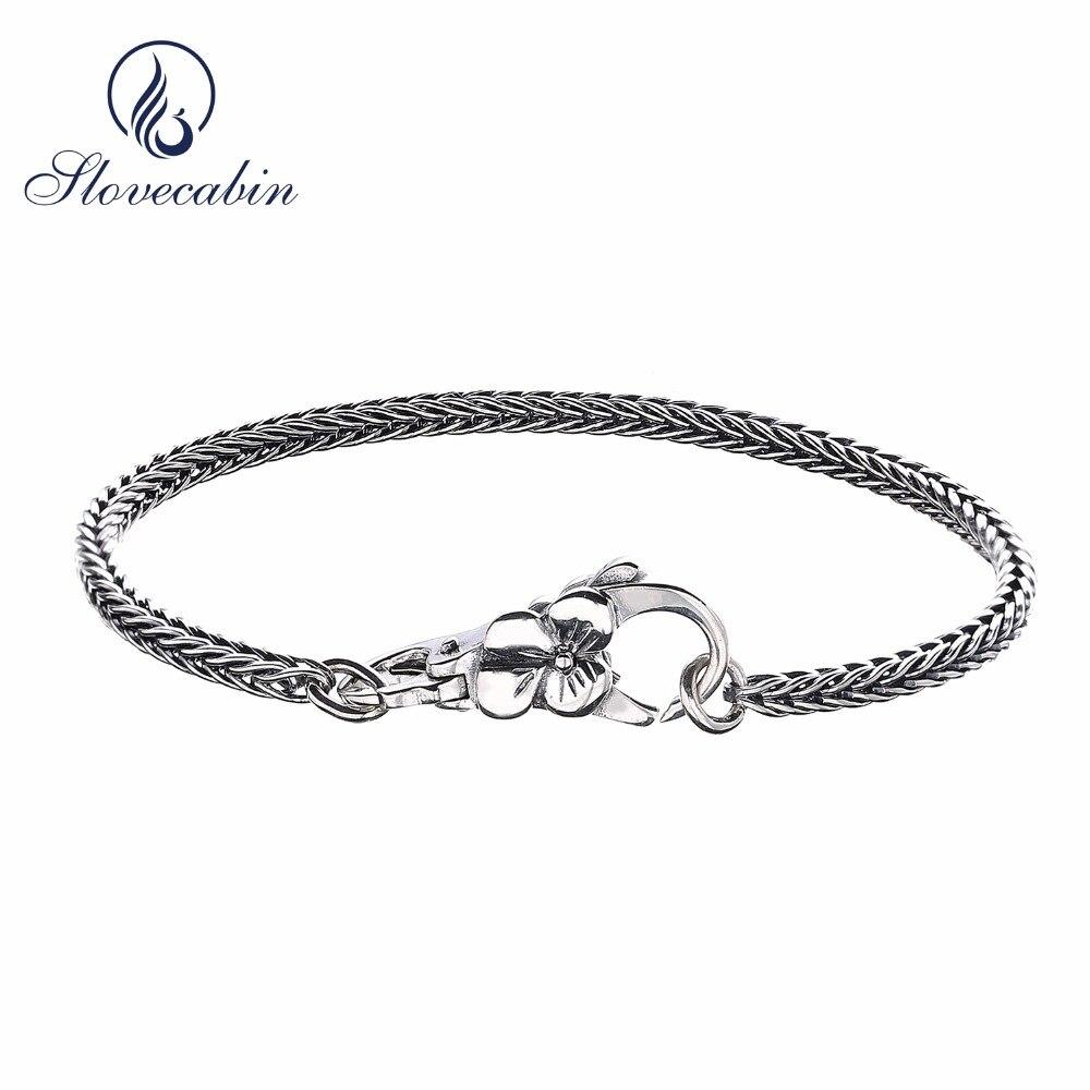 Slovecabin Vintage Style 925 Sterling Silver Gray Bracelet For Men Europe Popular DIY Jewelry Plum Buckle Bracelet Fine Jewelry