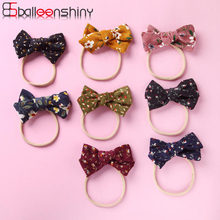 BalleenShiny 2019 New 8colors Newborn Baby Gilrs Hair Accessories Lovely Small Floral Corduroy Fabric Child Baby Bow Hair Band(China)