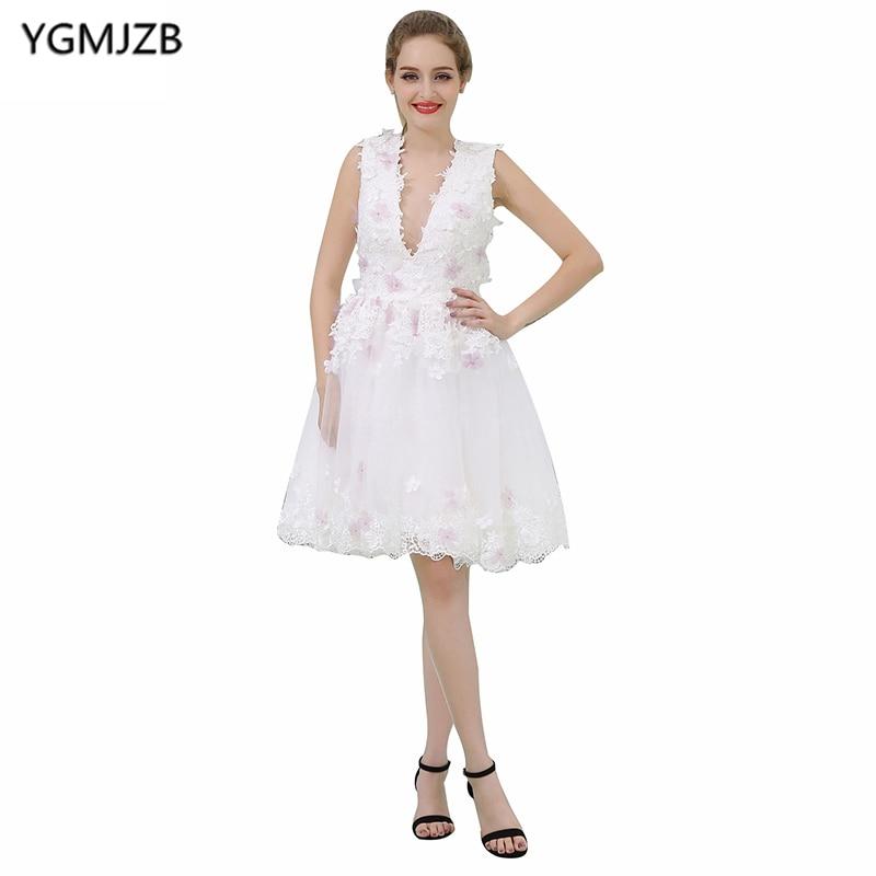 Elegant Short Prom Dresses 2018 A Line V Neck Cap Sleeve Flowers ...